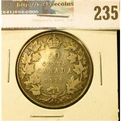 1913 Canada Silver Half-Dollar. VG.