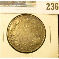 1914 Canada Silver Half-Dollar. VG.