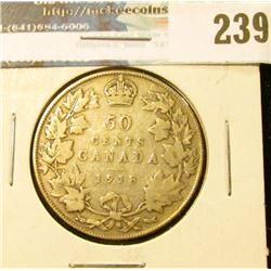 1918 Canada Silver Half-Dollar. VG.