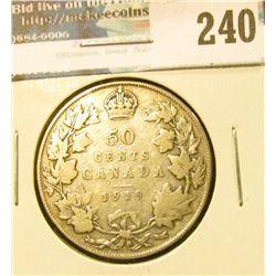 1919 Canada Silver Half-Dollar. VG.