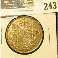 1947 Curved 7 Canada Silver Half-Dollar. Curved 7.