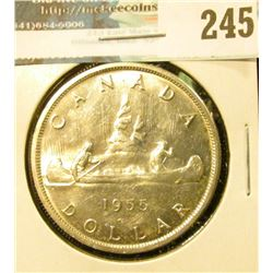 1955 Arnprior Gem BU Canada Silver Dollar. 1 1/2 Waterlines with die break obverse.