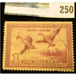 RW5 1938 Federal Migratory Bird Hunting and Conservation Stamp, not signed, partial gum.