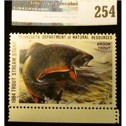 1984 Artist Signed Trout Stream Stamp Minnesota Department of Natural Resources. Mint condition.