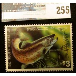 1983 Artist Signed Trout Stream Stamp Minnesota Department of Natural Resources. Mint condition.