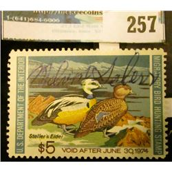 RW40 1973 Federal Migratory Bird Hunting and Conservation Stamp, signed, no gum.