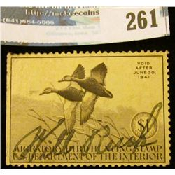 RW7 1940 Federal Migratory Bird Hunting and Conservation Stamp, signed, no gum.