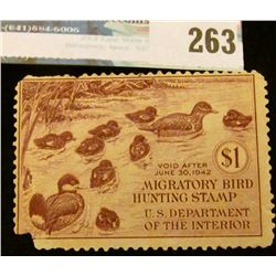 RW8 1941 Federal Migratory Bird Hunting and Conservation Stamp, not signed, no gum. Lower left corne