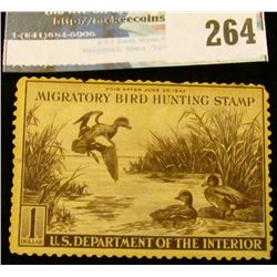 RW9 1942 Federal Migratory Bird Hunting and Conservation Stamp, not signed, no gum.