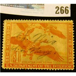 RW11 1943 Federal Migratory Bird Hunting and Conservation Stamp, signed by a U.S. Navy Veteran, no g
