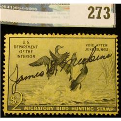 RW18 1951 Federal Migratory Bird Hunting and Conservation Stamp, signed, full gum.