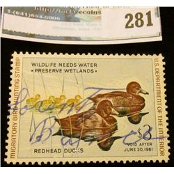 RW27 1960 Federal Migratory Bird Hunting and Conservation Stamp, signed, no gum.