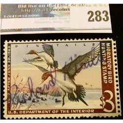 RW29 1962 Federal Migratory Bird Hunting and Conservation Stamp, signed, no gum.