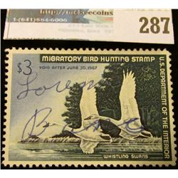 RW33 1966 Federal Migratory Bird Hunting and Conservation Stamp, signed, no gum.