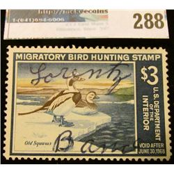 RW34 1967 Federal Migratory Bird Hunting and Conservation Stamp, signed, no gum.