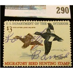 RW36 1969 Federal Migratory Bird Hunting and Conservation Stamp, signed, no gum.