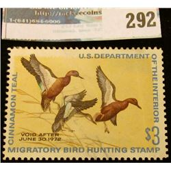 RW38 1971 Federal Migratory Bird Hunting and Conservation Stamp, not signed, hinged.