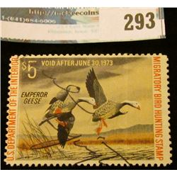 RW39 1972 Federal Migratory Bird Hunting and Conservation Stamp, signed, partial gum.