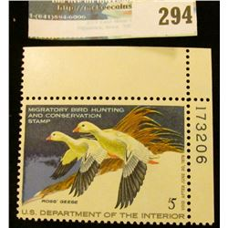 RW44 1977 Federal Migratory Bird Hunting and Conservation Stamp, plate number single, not signed, NH