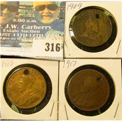 1909, 1912, & 1917 (holed) Canada Large Cents.