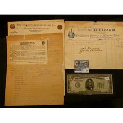 "(3) 1912 Invoices: ""Pittsburgh and Lake Erie Railroad Company"", ""The Milton Manufacturing Co. Manufa"