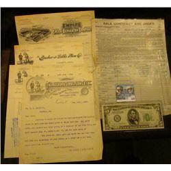"(3) 1896-1902 invoices from ""The Bucher & Gibbs Plow Co. Canton, Ohio""; 1905 Invoice ""Empire Cream S"