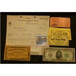"1930 International Harvester Company Invoice; 25c ""Gold Bond Certificate"" 1906 Series 23515 ""C.E. Ba"