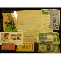 "1900 letter on letter head ""E. Bement's Sons Lansing Michigan""; $5,000 & $50,000 Elvis King of Rock"