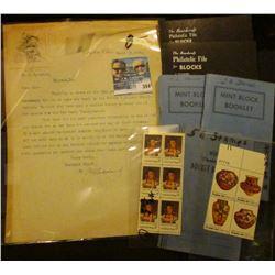 Block of six 6c Chief Joseph National Portrait Gallery Stamps; 4-stamp plateblock of 13c Pueblo Art