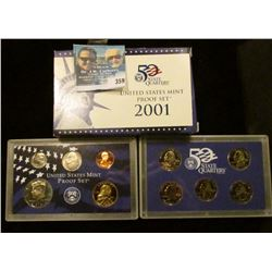 2001 S U.S. Cameo Frosted Proof Set in original box as issued. Contains Sacagawea Dollar and State Q