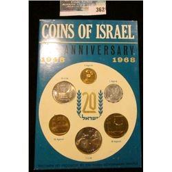 1948 1968 Coins of Israel 20th Anniversary Six-piece Set in original holder.