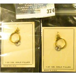 Pair of 1/20 12K Gold-filled Bezels for U.S. One Dollar Gold Pieces. (I think).
