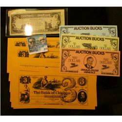 "Three-piece Set of $10, $50,. & $500 Auction Bucks ""Dekalb-Pfizer Genetics""; group of (10) Chicago C"