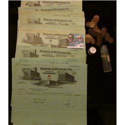 """Large group of 1920 era invoices """"Harper & McIntire Co. Wholesale Hardware…Cedar Rapids, Iowa…""""; & a"""