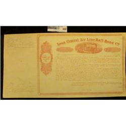 "Unissued ""Iowa Central Air Line Rail-Road Co. Town Lot Scrip"", Payable at 8 per cent interest March"