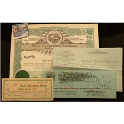 """Certificate For Shares of the Capital Stock White Co-operative Creamery White, S.D.""; 1908 Letter o"