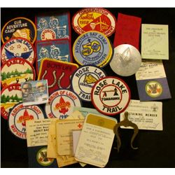 Scout Handkerchief slide with Heraldic Eagle; brass lyre device; (14) early Boy Scout Cloth Patches;