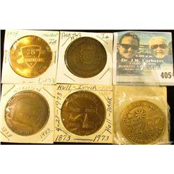 1858-1983 Wheatland, Iowa Quasquicentennial Medal, 39mm, brass, BU; 1882-1982 Oakland, Iowa Centenni