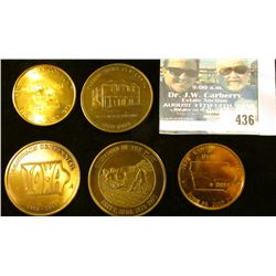 (5) Different Iowa Centennial Medals, includes: Derby, Britt, Klemme, Kenset (mtg. 100), & Ferguson.