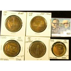 (5) Different Iowa Centennial Medals, includes: Arthur, Williams, Wayland, Ida Grove, & Burt, Iowa.