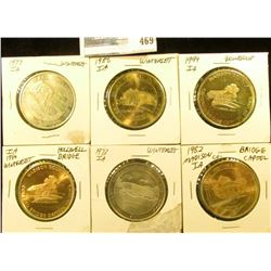 (6) Different Bridges of Madison County, Iowa Medals, all 39mm, BU.