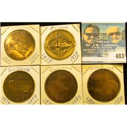 (5) Different Iowa Centennial Medals, includes: Gladbrook, Gravity, Greene, Griswold, & Guernsey, Io