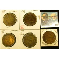 (5) Different Iowa Centennial Medals, includes: Coin, Jewell, Jamaica, Marathon, & Jolley, Iowa.