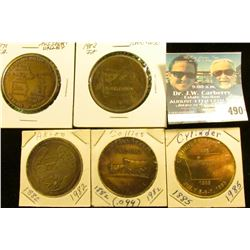(5) Different Iowa Centennial Medals, includes: Cylinder, Collins #099, Akron, Yorktown, & Missouri