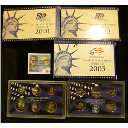 2001, 2002, AND 2005 PROOF SETS IN ORIGINAL GOVERNMENT PACKAGING.  EACH SET COMES WITH 5 PROOF STATE