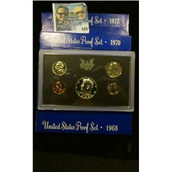 1968 S, 1970 S, AND 1972 S PROOF SETS.  THE HALF DOLLARS IN THE 1968 AND 1970 SETS ARE 40% SILVER