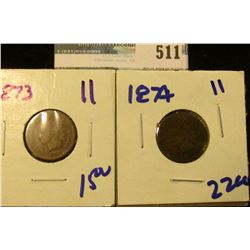 1873 AND 1874 SEMI KEY DATE INDIAN HEAD CENTS