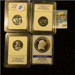 (3) SILVER ENHANCED SACAGAWEA DOLLARS, AND REPLICA 1794 FLOWING HAIR DOLLAR