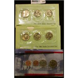 1979, 1980, AND 1999 THREE PIECE SUSAN B ANTHONY SETS.  EACH SET HAS THREE DOLLARS IN IT.  EACH SET