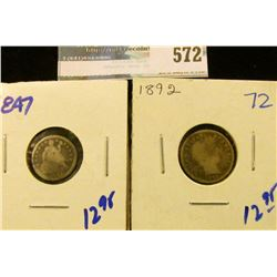 1892 BARBER DIME AND 1847 SEATED HALF DIME